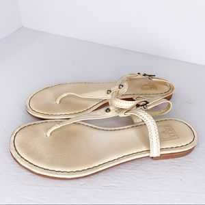Frye Carson Cream Leather Thong Sandals Size 6.5